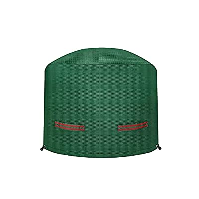 Dokon Round Fire Pit Cover with Double Handles, Large Patio Fire Bowl Cover, 150gsm Rip Proof Polypropylene (PP) Fabric Garden Outdoor Heater Cover, Waterproof, Windproof, Anti-UV, Ø80x50cm(Green) from Dokon