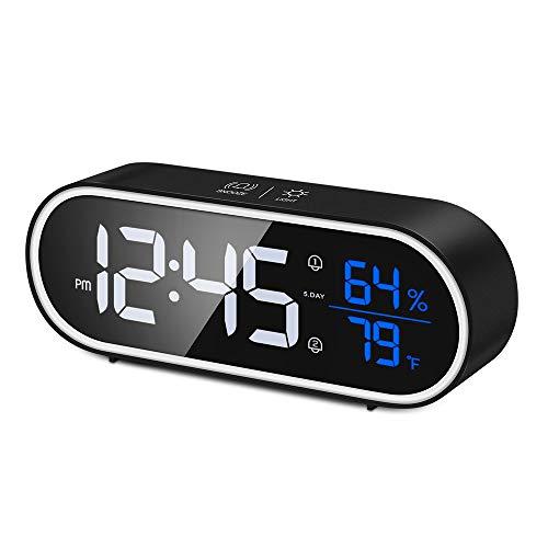 Reesibi Sveglia Digitale con Temperatura Umidità, Grande Pulsante Snooze, Luminosità Regolabile, Batteria 1200mAh, Controllo del Suono, Casa Cucina Ufficio, Sveglia da Comodino Doppio Allarme, Nera
