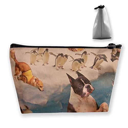 Trousse de maquillage trapézoïdale Fantasy Puppy Penguin Print Sac de rangement de voyage pour téléphone et portefeuille