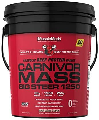 Cash special price MuscleMeds Carnivor Mass Chocolate Max 68% OFF Big 15 Lb Bucket 1250 Steer