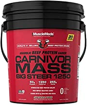 MuscleMeds Carnivor Mass Chocolate Big Steer 1250 Bucket, 15 Lb