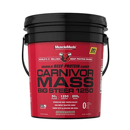 MuscleMeds Carnivor Mass Chocolate Big Steer 1250 Bucket, 15 Lb
