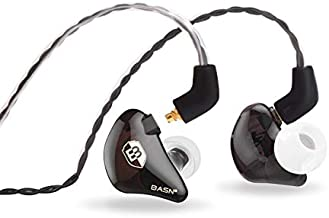 BASN in Ear Monitor Headphones for Musicians Dual-Driver Noise-Isolation Universal-Fit with Removable MMCX Audio Cable and Microphone Cable (SPE-Coffee)