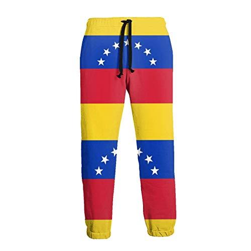 AEMAPE Pantalón Deportivo con Bandera de Venezuela para Hombre Pantalón Deportivo de Fondo Cerrado con cordón y Bolsillos