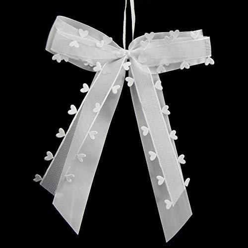 VGOODALL 30 STK. Autoschleifen Antennenschleifen Weiß mit Herzen Schleifen Hochzeit Handgemacht Satinband für Dekoration Feste