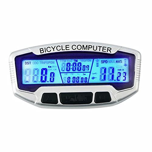YZX Cuentakilómetros Bicicleta, podómetro de kilometraje para computadora de Bicicleta Multifuncional inalámbrico para Exteriores, con Pantalla LCD cronómetro a Prueba de Agua velocímetro Digital