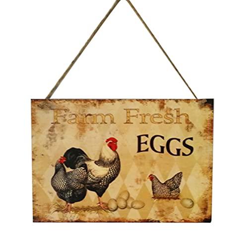 HEALLILY Huevos Frescos de Madera Signo Retro Vintage Signo País Hogar Decoración Granja Bar Signo (Huevos Frescos de Granja 3)