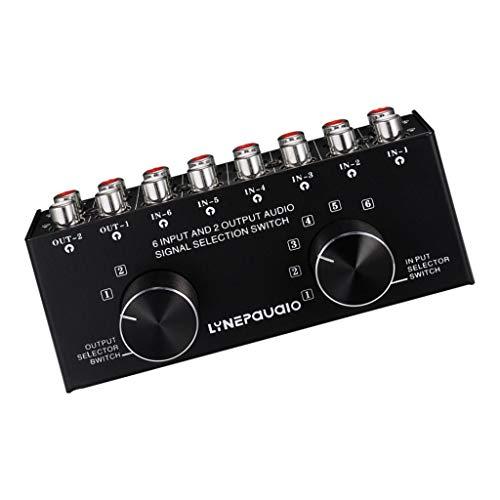 Almencla RCA Audio Signalumschalter Wählschalter Auswahlbox Cinch-Umschalter mit 6 Eingängen 2 Ausgängen