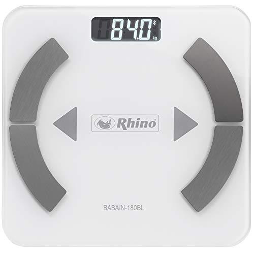 Balança de Bioimpedância digital Rhino BABAIN-180 BL SMART com bluetooth, você terá 11 tipos de dados analisados, INTELIGENTE pode trabalhar com até 24 pessoas e inclui modo de pesagem de bebês. (Branca)