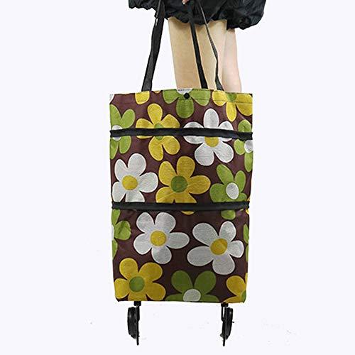 キャリー エコバッグ ショッピングカート 折りたたみシ バッグ 買い物エロバッグ 買い物袋 コンパクト レジ袋 布の材質 大容量 耐荷重 軽量お 保冷 保温 お買い物に便利 2輪キャスター付き(コーヒー色)