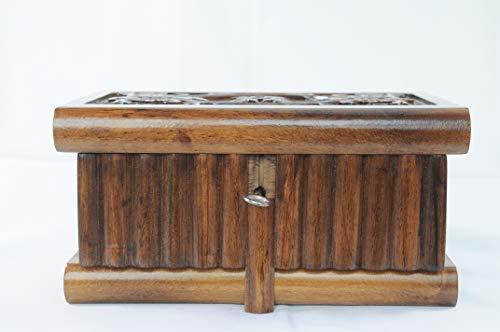 "Tubibu Walnut Treasure Within Puzzle Secret Magic Box Hand Made Unique Jewelry Box with Hidden Key 7.5""x4.7""x4.7"" (19cmx12cmx12cm) 3"