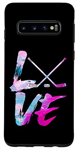 Galaxy S10 Love Hockey Typograph Cool Puck Stick Game Sport Lover Gift Case