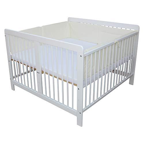 Zwillingsbett Zwillingskinderbett Kinderbett für Zwillinge massiv weiss mit 2 Matratzen 120x120cm + Nestchen beige