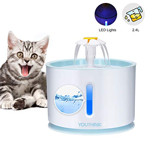 YOUTHINK Pet Fountain Cat Fountain, 2.4L Large Capacity Auto Powerful Cat Pet Water Fountain with LED Light, 3 Water Flow, Quiet Pet Drinking Fountain for Dog Cat Smal Animal, Keep Pet Healthy