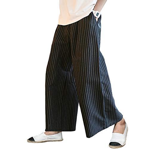 YIMANIE ワイドパンツ 袴パンツ メンズ ガチョウパンツ 和式ズボン ビッグシルエット ゆるゆる ゴム 紐 無地 ストライプ 男女兼用 衣装 大きいサイズ ルームウェア