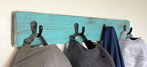 Wall Mounted Coat Rack by Out Back Craft Shack: Farmhouse Decor in Rustic dark Teal