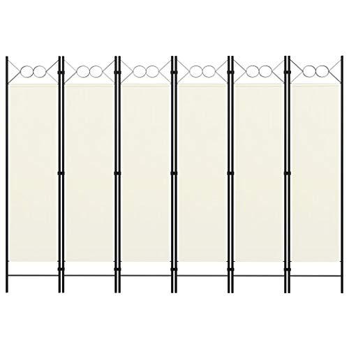 vidaXL Raumteiler Klappbar Freistehend Trennwand Paravent Umkleide Sichtschutz Spanische Wand Raumtrenner 6 TLG. Cremeweiß 240x180cm Eisen Stoff