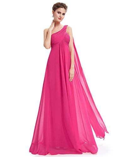 Ever-Pretty Vestidos de Fiesta Gasa Un Hombro Corte Imperio Plisado sin Mangas para Mujer Rosa Caliente 36