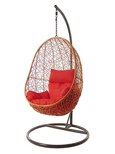 Kideo Swing Chair, Lounge-Möbel, Loungesessel Polyrattan, Hängestuhl, Hängesessel mit Gestell & Kissen (Sandstone/rot)