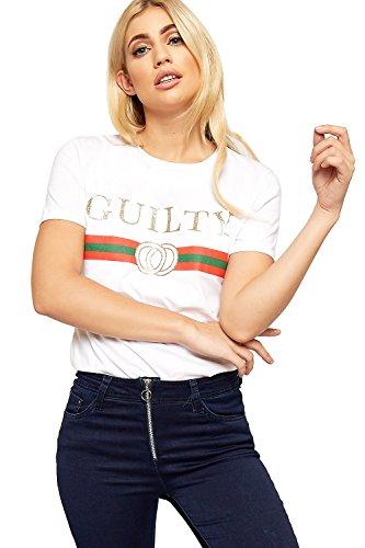 WearAll - Damen Kurz Hülle Guilty Glanz Slogan Druck Top Damen Grafik T-Shirt - Weiß - 40-42