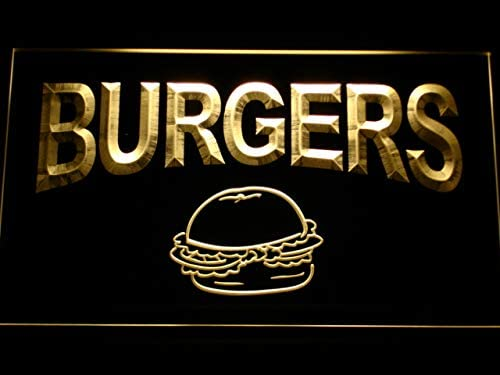 ADVPRO Burgers Cafe LED Neon New Free Shipping Sign Yellow Inches st4s64-m 24 x 16 Free shipping