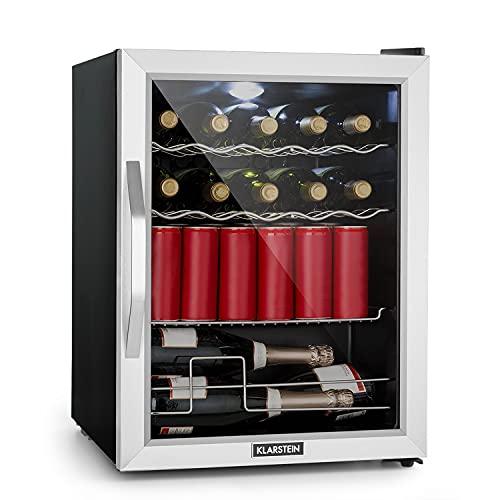 Klarstein Beersafe XL Mix It - Nevera de bebidas, Mininevera, Minibar, De 0 a 13°C, 60 L, clase D, 42 dB, Iluminación LED, 4 Rejillas metálicas, Puerta acristalada, Silencioso, Plateado