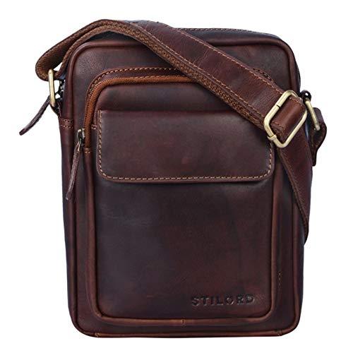 STILORD 'Jannis' Pequeño Bolso Mensajero o Bandolera de Cuero Vintage para Hombre Bolsa de Hombro para Tablet portátil o iPad de 9.7' de auténtica Piel, Color:Cognac marrón Oscuro
