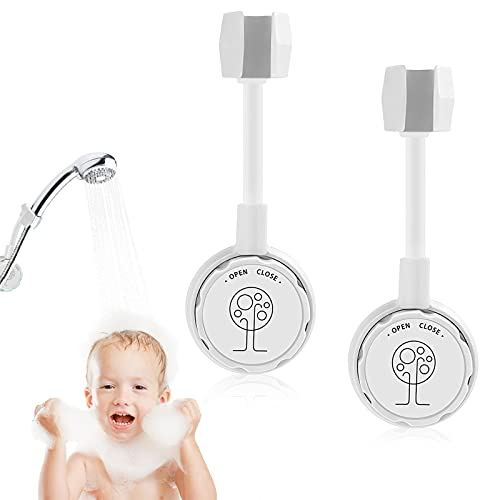 Suction Cup Shower Head Holder 360 °Rotating Shower Bracket Adjustable Universal Non-porous Handheld Shower Head Bracket 2PC Wall-mounted Multifunctional Removable Shower Bracket(White)