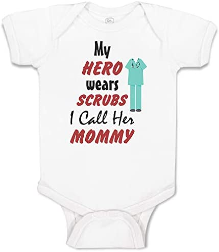 Custom Personalized Baby Bodysuit My Hero Wears Scrubs I Call Her Mommy Doctor Nurse Funny Cotton product image