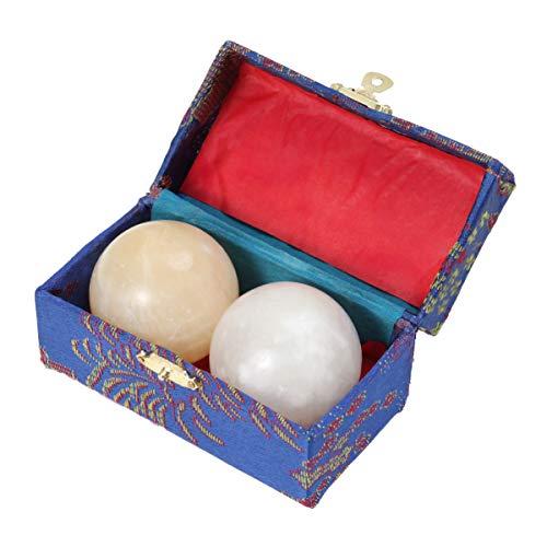 Healifty 2 Stück Marmor Handbälle Chinesische Gesundheitsübung Baoding Bälle Marmor Stein Körper Massage Ball Roller für Kinder Erwachsene Alte Männer (Gelb)