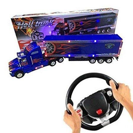 Big Daddy Series Extra Large Super Duty Tractor Trailer with Light & Music Colors May Very Black & Blue