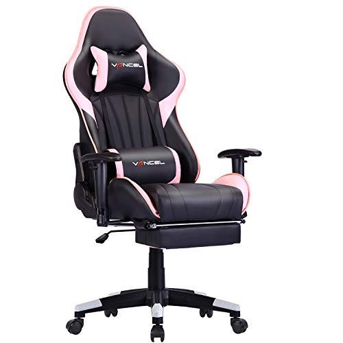 EVANCEL Gaming Stuhl Ergonomisches Computer Schreibtischstuhl Racing Design mit Breiten Rückenkissen, ausziehbahre Fußlehne in Taillenbereich einfach mit den PC verknüpfen (Rosa-2)