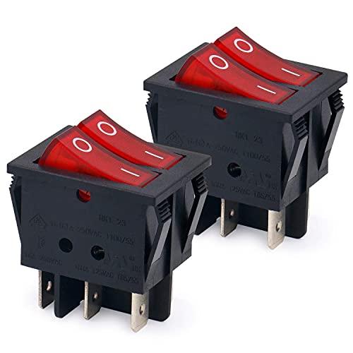 Heschen Doble interruptor basculante SPST encendido-apagado, con 6Terminales, con luz roja, 16A 250VAC, pack de dos