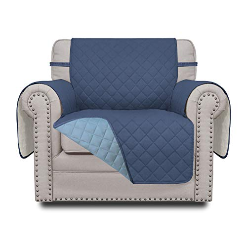 Easy-Going Sofa Slipcover Reversible Chair Cover Water Resistant Couch Cover Furniture Protector with Elastic Straps for Pets Kids Children Dog Cat(Chair,Dark Blue/Light Blue)