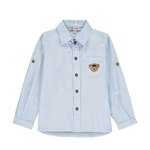 Steiff Jungen Langarm Hemd, Blau gestreift (6027), 80