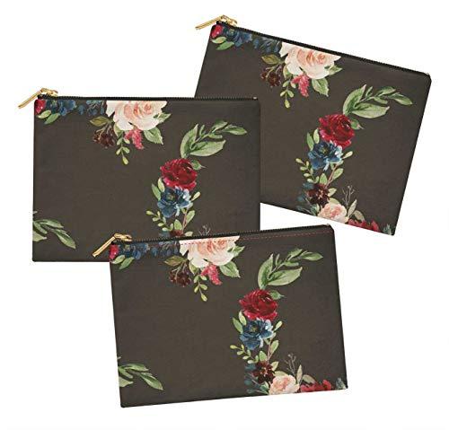 S4Sassy Gris Ranunculus & Penoy Floral Lot de 3 Sacs à Maquillage Maquillage-6 x 8 Pouces