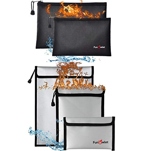Fireproof Waterproof Money Document Bag - 2+3 Pack Safe Upgraded Zipper Bags, Fire & Water Resistant Storage Organizer Pouch for A4 A5 Documents Holder,File,Cash,Jewelry,Passport,Tablet,Laptop