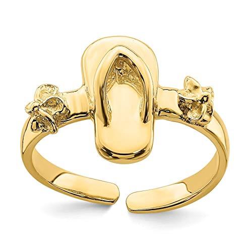 Zehenring, 14 Karat Gold, verstellbar, Flip-Flop und Blume, Schmuck, Geschenke für Frauen