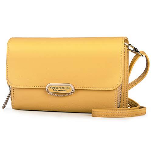 LUROON Bolsos de Mujer Pequeños, Bolsos de Mujer Bolsos de Cuero PU Bandolera de Elegante y Moderna Mini Bolsa Crossbody Múltiples colores (Amarillo)