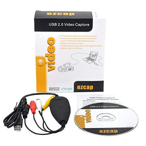ezcap156 USB Video Capture Adapter Video Grabber VHS Hi8 DVD Maker for Windows 3 Chips, Main Chip EM2860, Better Compatibility Golden Plate