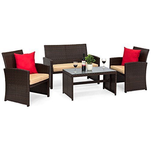 Best Choice Products 4-Piece Wicker Patio Conversation Furniture Set w/ 4 Seats and Tempered Glass Top Table, Brown