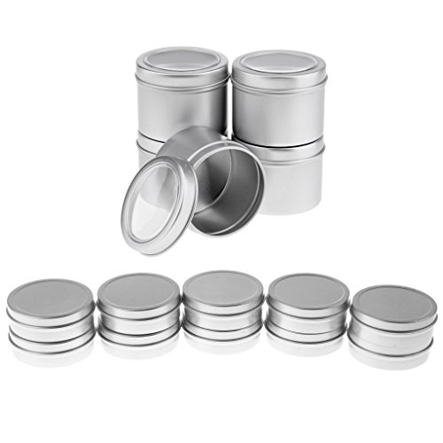 15er Set 60ml Cremedose Leere Dosen Schraubdose aus Aluminium mit Schraub-Deckel, Alu-Dose Döschen Behälter für Kosmetik, Tee Kerzen Aroma