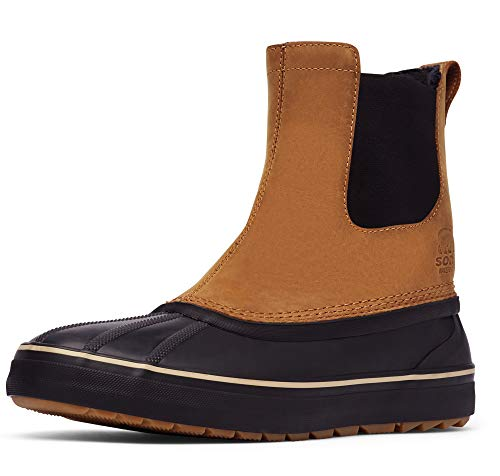 Sorel - Men's Cheyanne Metro Chelsea Waterproof Insulated Leather Boots with Microfleece Lining, Elk/Black, 10.5 M US