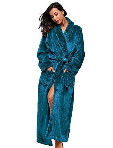 BELLOO Winter Weich Bademantel Damen Coral Fleece Morgenmantel Warmer Schlafanzug,Peacock Blue,L