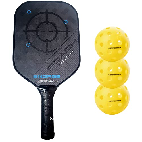 Engage Poach Infinity Second Generation Pickleball Paddle (Standard Weight 8.0 – 8.5 oz) & Onix 3-Pack Fuse G2 Pickleballs & Pickleball Tips Bundle Set – Racket for Control, Feel, Spin (Blue)