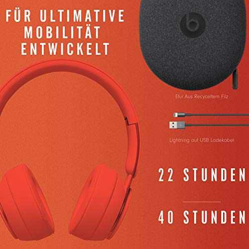 Beats Solo Pro Wireless Noise Cancelling Kopfhörer - More Matte Collection - Rot, One Size
