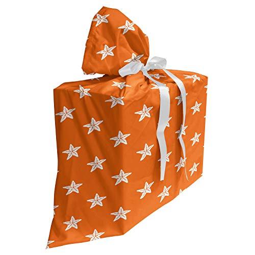 ABAKUHAUS Zeester Cadeautas voor Baby Shower Feestje, Aquarium Fauna Pattern, Herbruikbare Stoffen Tas met 3 Linten, 70 cm x 80 cm, oranje Wit