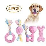 JYPS Puppy Chew Toys, 4pcs Juego de Juguete para la dentición del Perro con Bolas y Cuerdas de algodón Regalo Interactivo de Juguetes para Mascotas para Cachorros pequeños y Perros medianos (Rosado)