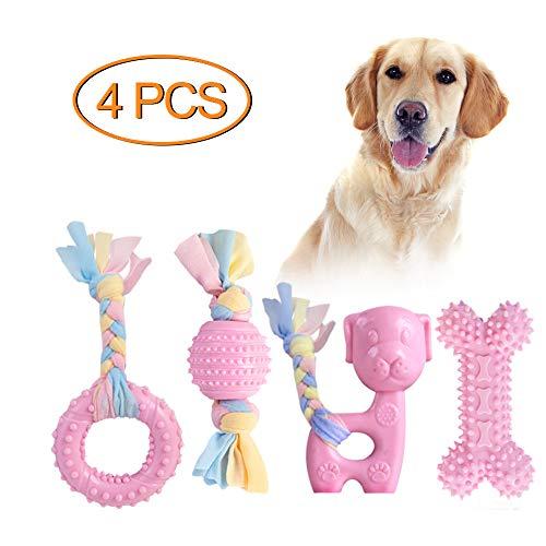 Giocattoli da masticare per cuccioli JYPS, set di giocattoli per dentizione per cani 4 pezzi con in cotone e palla, giocattoli da masticare regalo per cuccioli di taglia piccola e cani di media (Rosa)