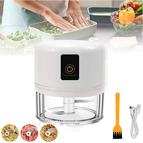 Electric Mini Garlic Chopper,Wireless Portable Small Food Processor,250ML Multi-function Food Chopper for Garlic Veggie,Dicing, Mincing & Puree,8.5oz